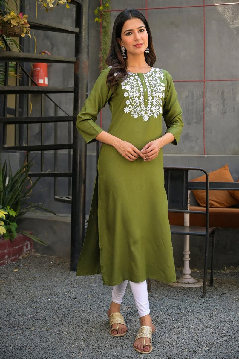Exclusive Green Rayon Fabric Simple Daily Wear Straight Cut Kurti