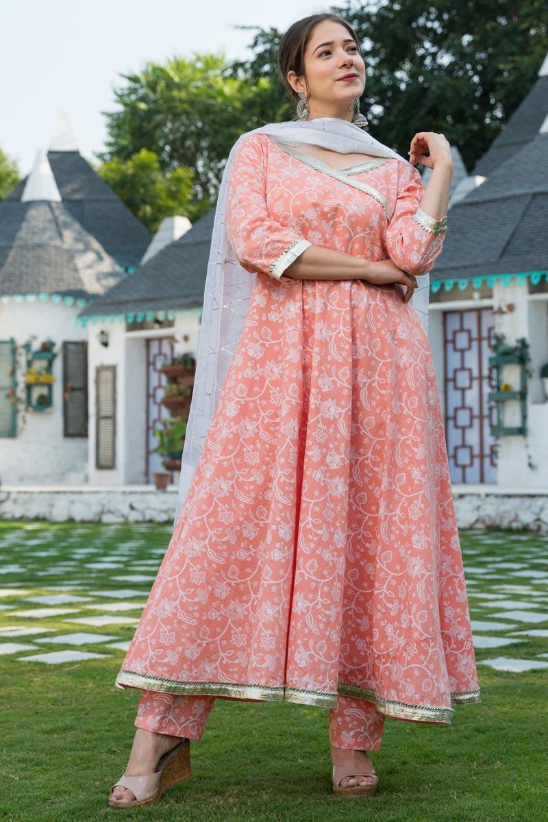 Exclusive Peach Color Plus Size Elegant Print Kurta Set With Dupatta