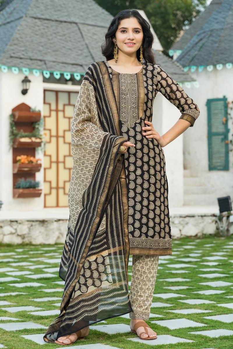 Exclusive Black Color Plus Size Bagru Block Print Chanderi Kurta Dupatta Set