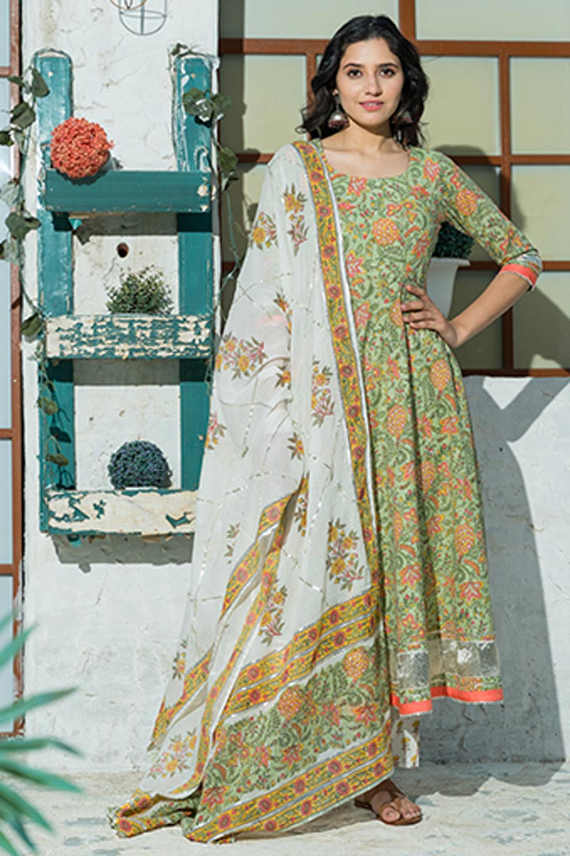 Exclusive Sea Green Color Plus Size Floral Hand Block Print Kurta Dupatta Set