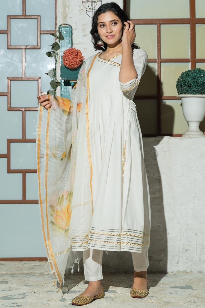 Exclusive Off White Color Plus Size Cotton Kurta Set With Hand Painted Doria Dupatta