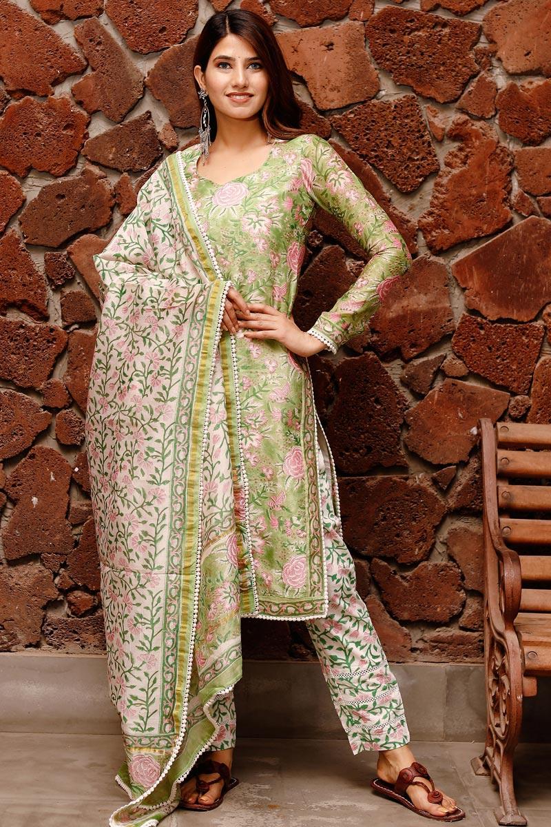 Exclusive Green Color Plus Size Block Print Chanderi Kurta Dupatta Set