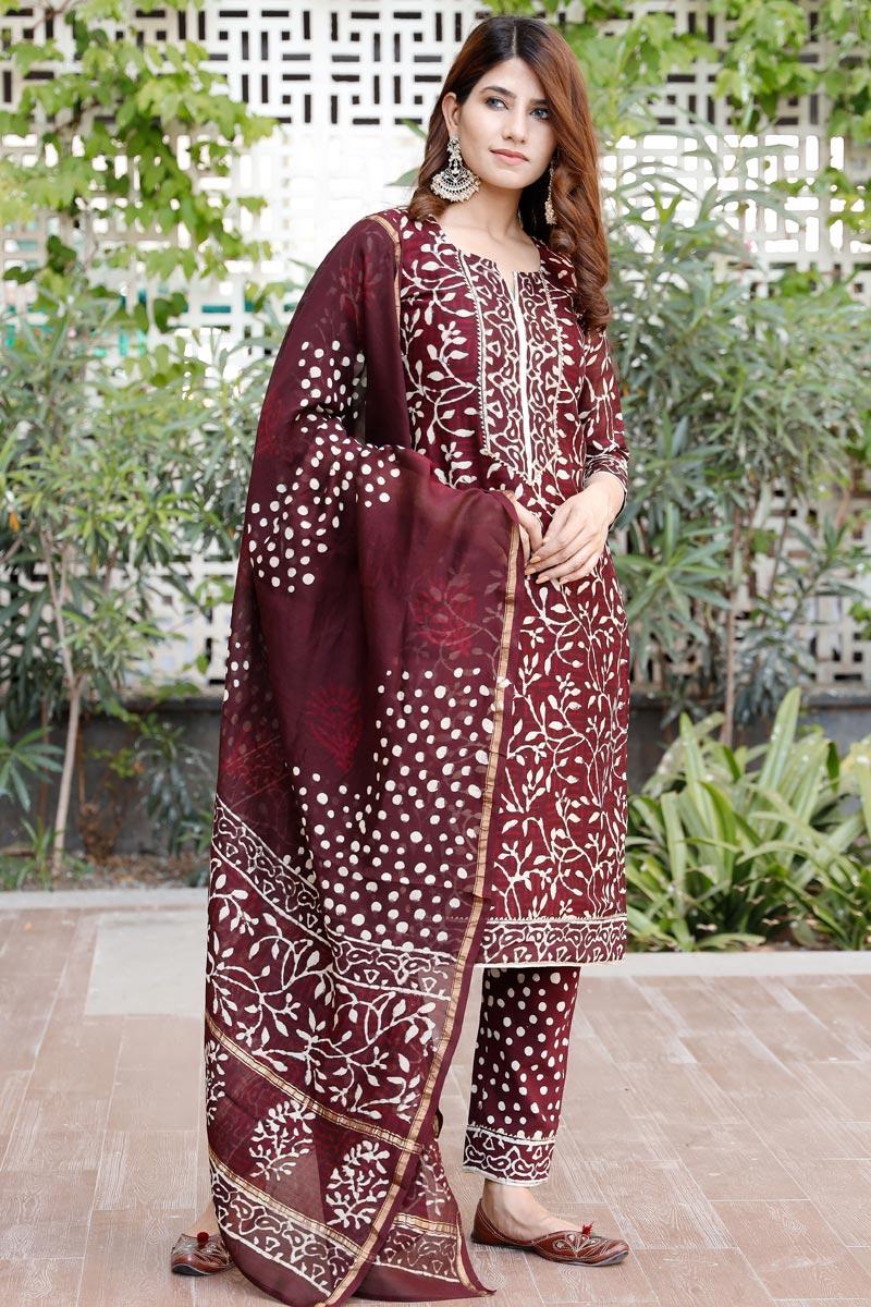 Exclusive Maroon Color Plus Size Bagru Hand Block Print Cotton Kurta Set With Chanderi Dupatta