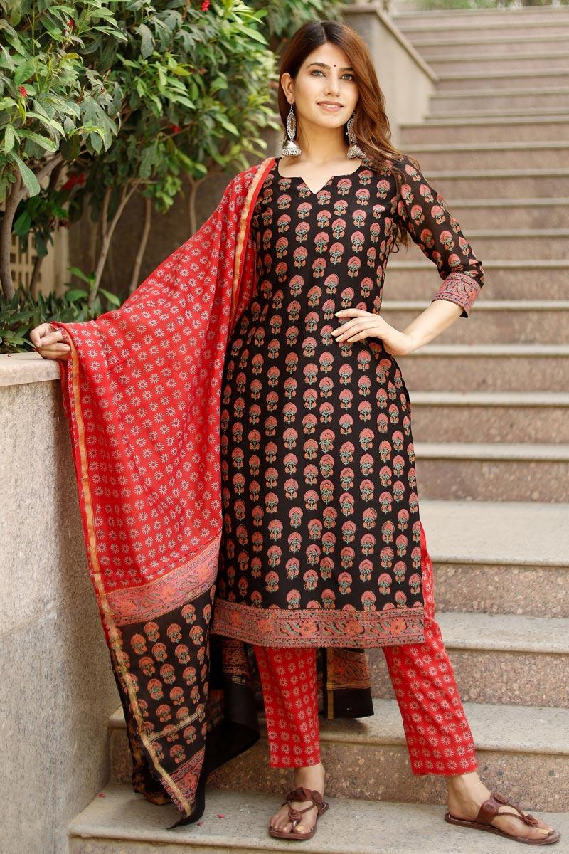 Exclusive Black Color Plus Size Hand Block Print Cotton Kurta Set With Chanderi Dupatta