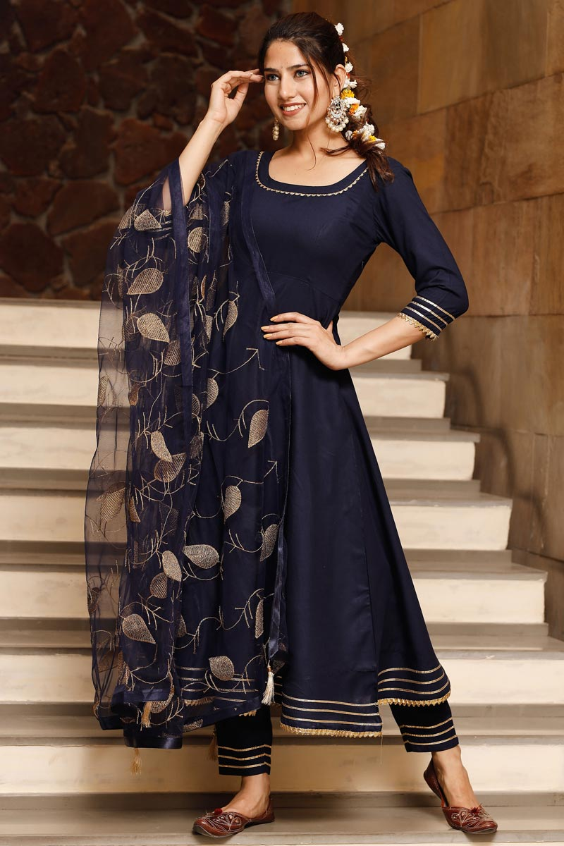Exclusive Navy Blue Color Plus Size Kurta Set With Embroidered Dupatta