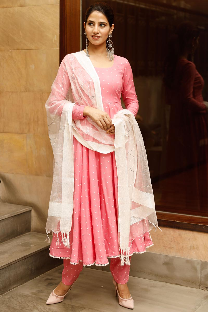 Exclusive Pink Color Plus Size Polka Print Kurta Dupatta Set