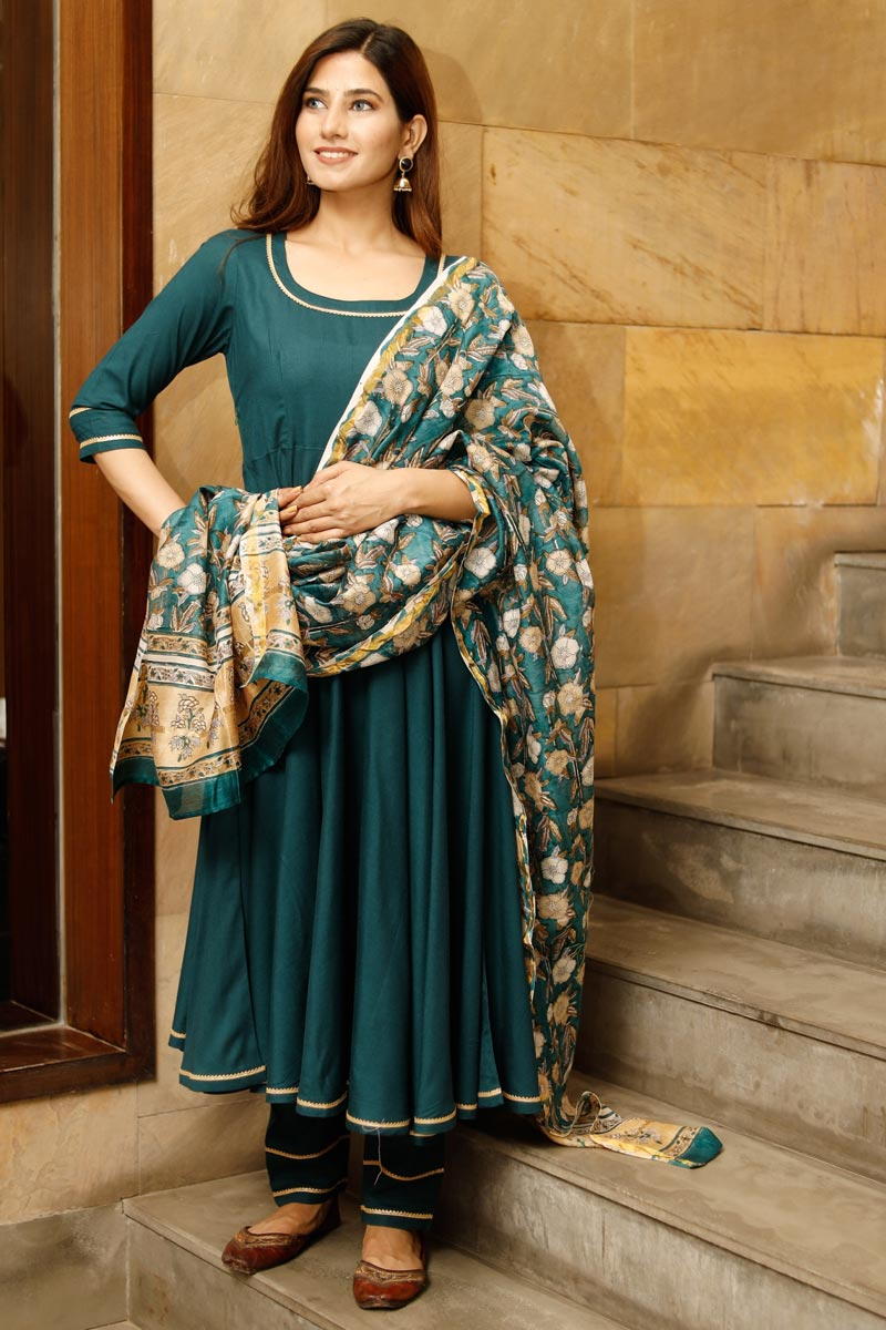 Exclusive Teal Color Solid Flared Kurta Set With Hand Block Print Dupatta