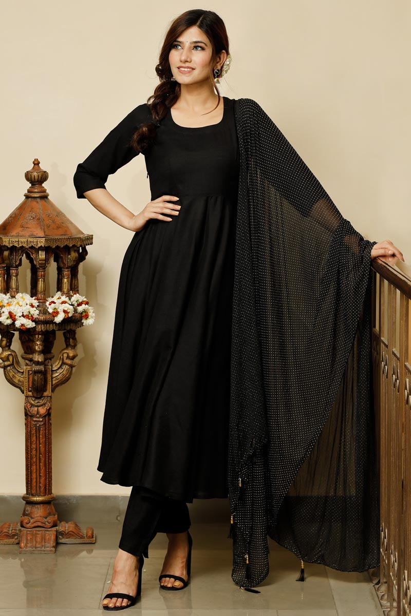 Exclusive Black Color Solid Flared Kurta With Gold Dot Dupatta