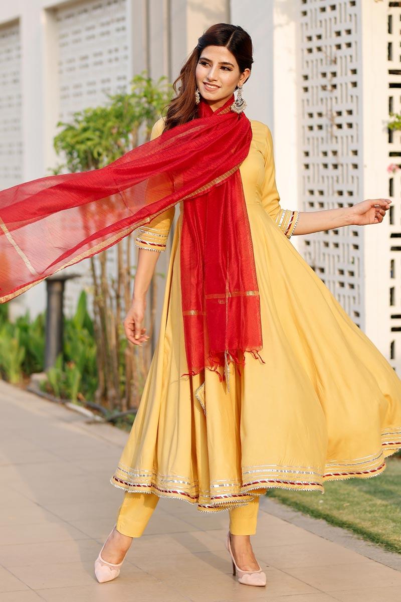 Exclusive Yellow Color Gota Flared Kurta Dupatta Set
