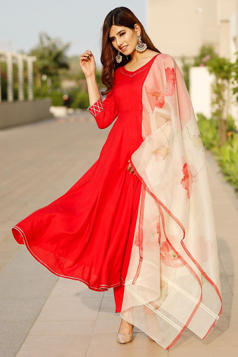 Exclusive Red Color Flared Kurta Set With Hand Pant Floral Dupatta