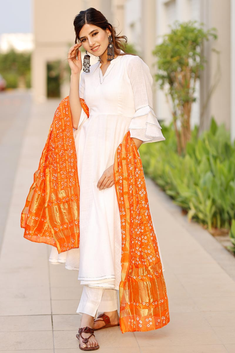 Exclusive Off White Color Flared Kurta Set With Bandej Dupatta