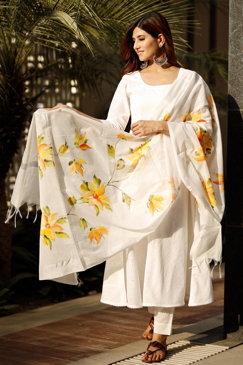 Exclusive Off White Color Flared Cotton Kurta Set With Hand Paint Dupatta
