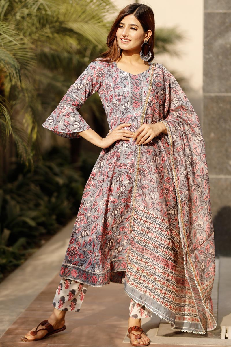 Exclusive Grey Color Floral Flared Cotton Hand Block Print Kurta With Dupatta