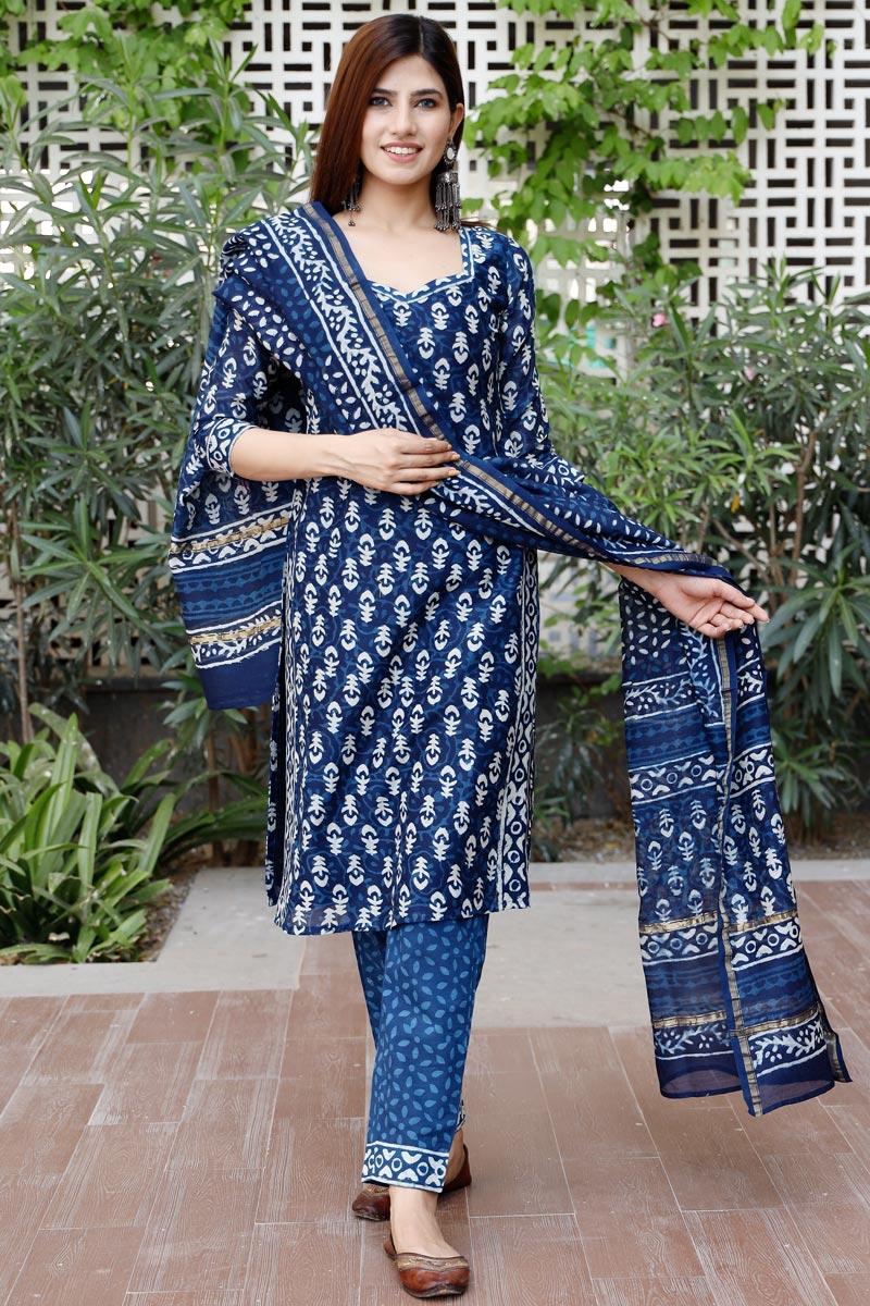 Exclusive Blue Color Bagru Hand Block Print Kurta Set With Chanderi Dupatta