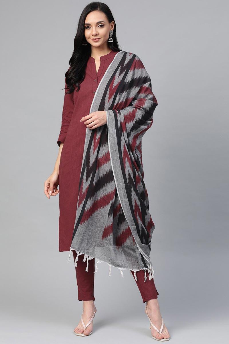 Exclusive Maroon Cotton Fabric Daily Wear Stylish Salwar Set