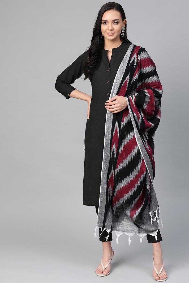 Exclusive Black Cotton Fabric Office Wear Trendy Salwar Set