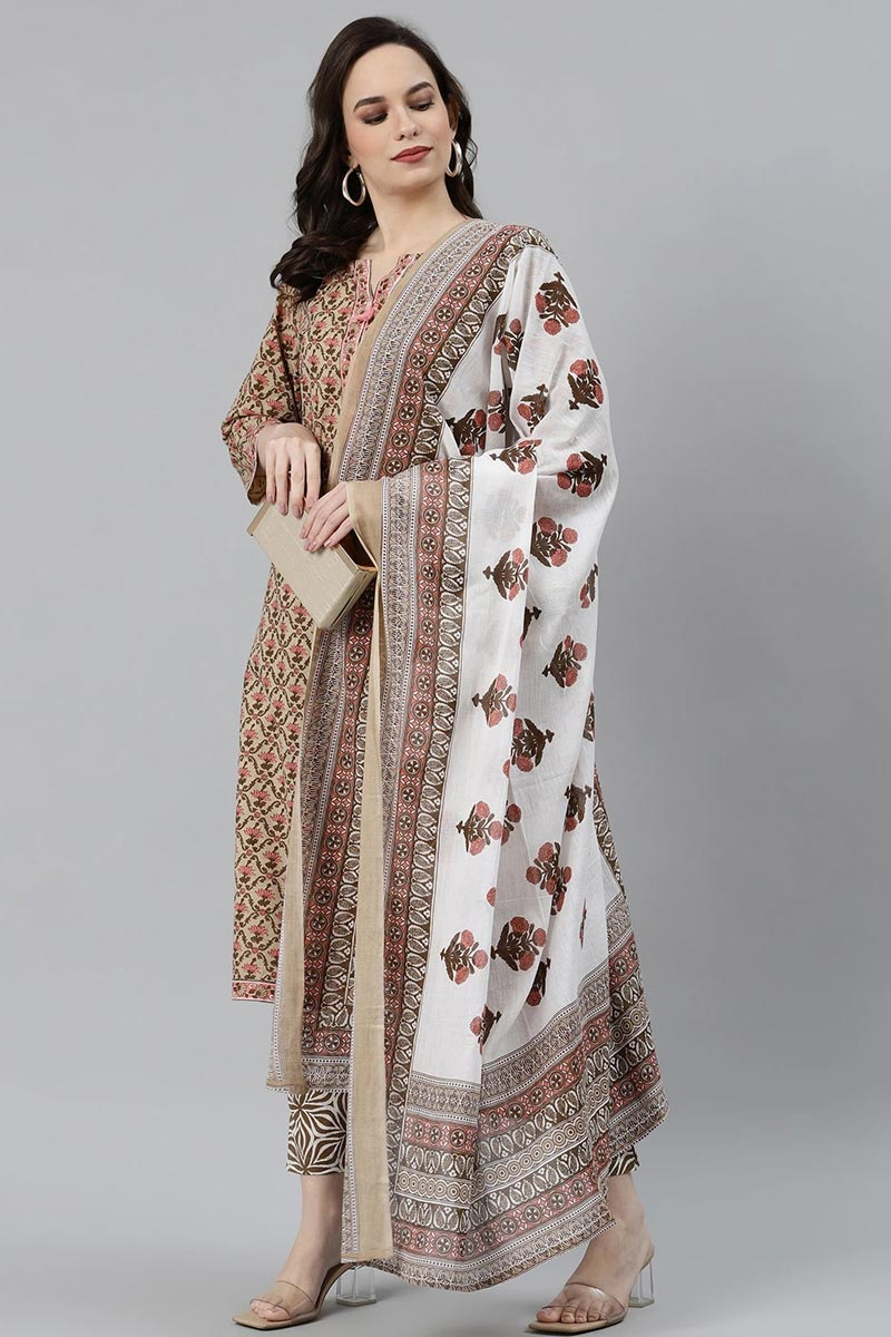 Exclusive Beige Cotton Fabric Casual Wear Stylish Salwar Set