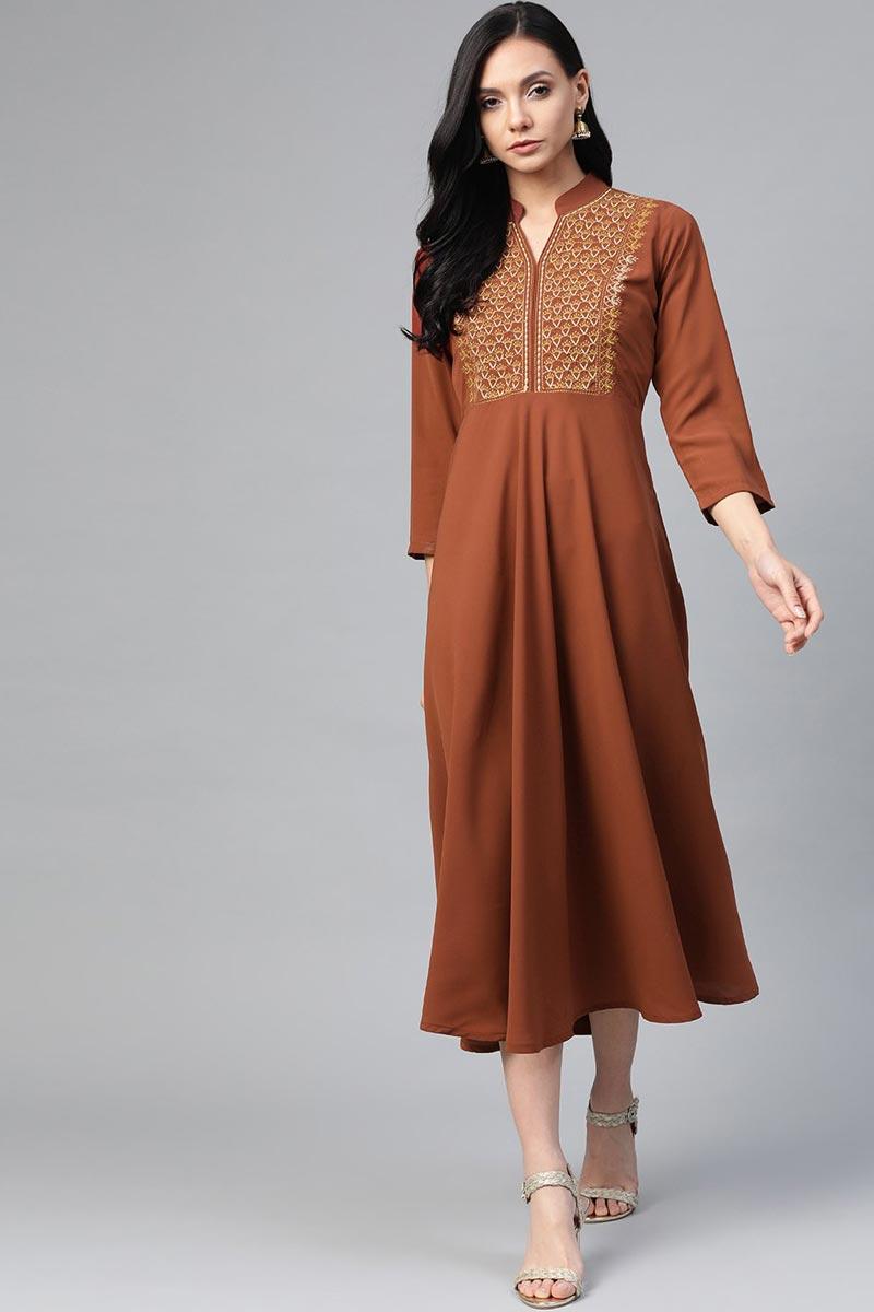 Exclusive Rust Fancy Fabric Daily Wear Trendy Kurti