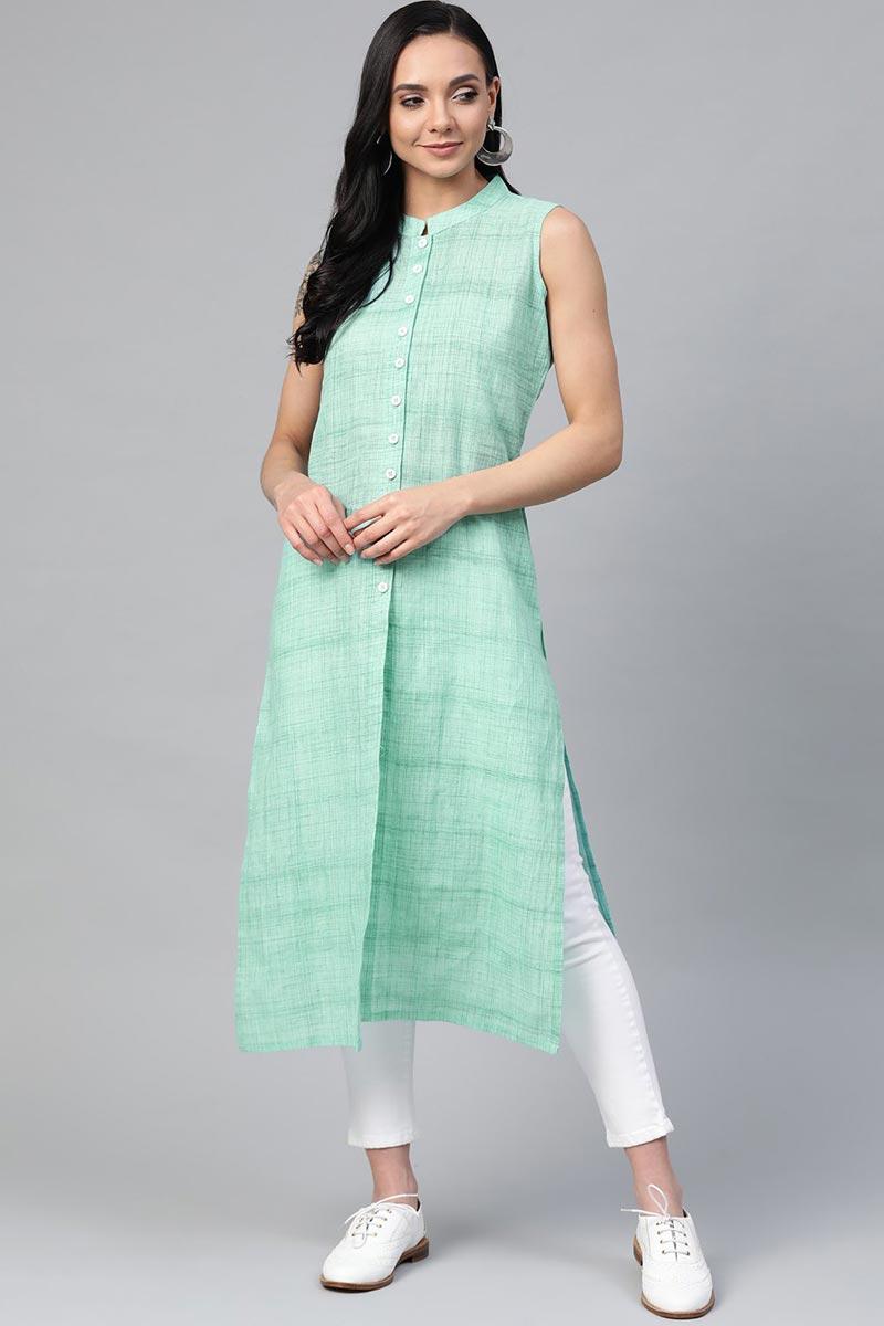 Exclusive Sea Green Cotton Fabric Office Wear Simple Kurti