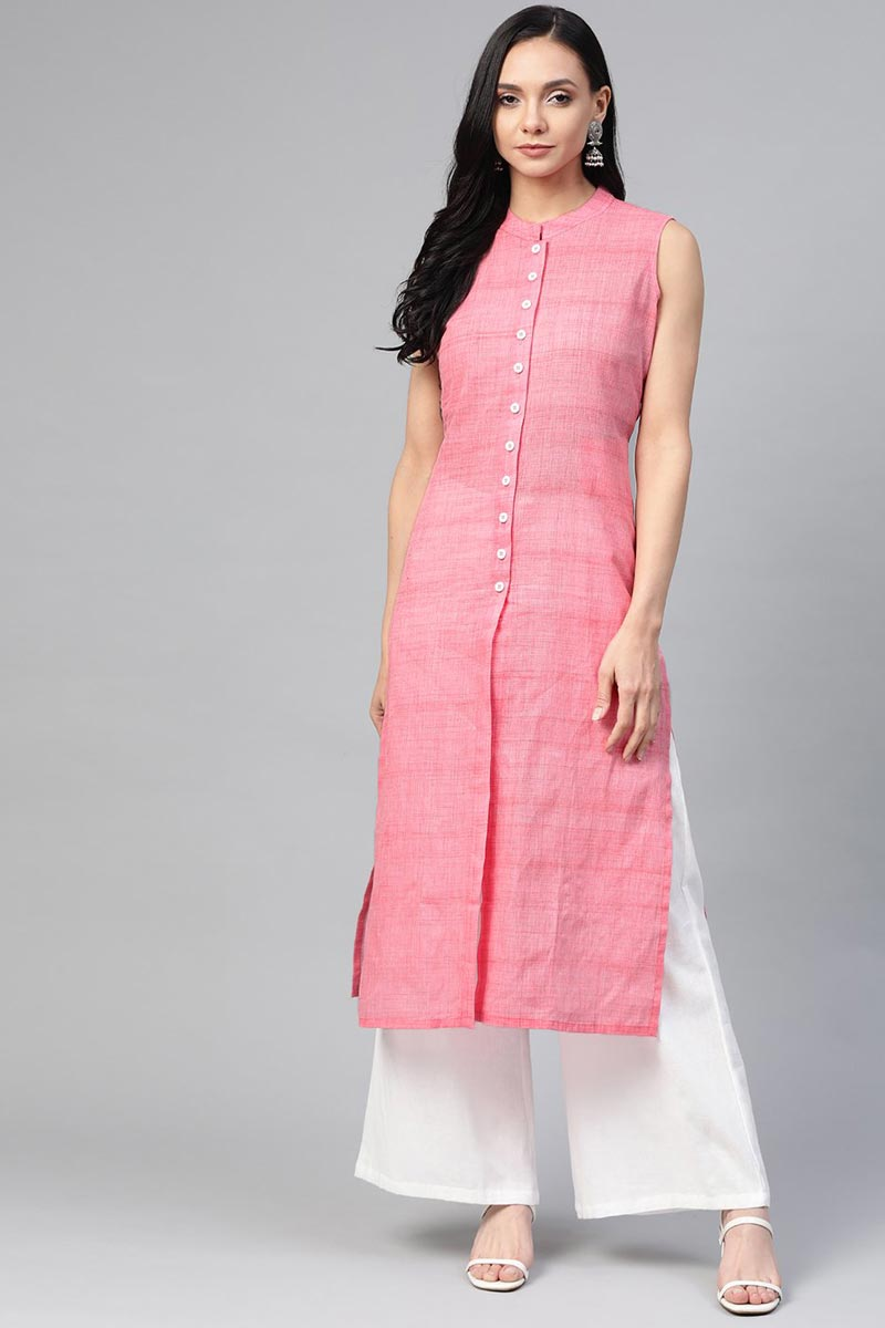 Exclusive Pink Cotton Fabric Regular Wear Stylish Kurti