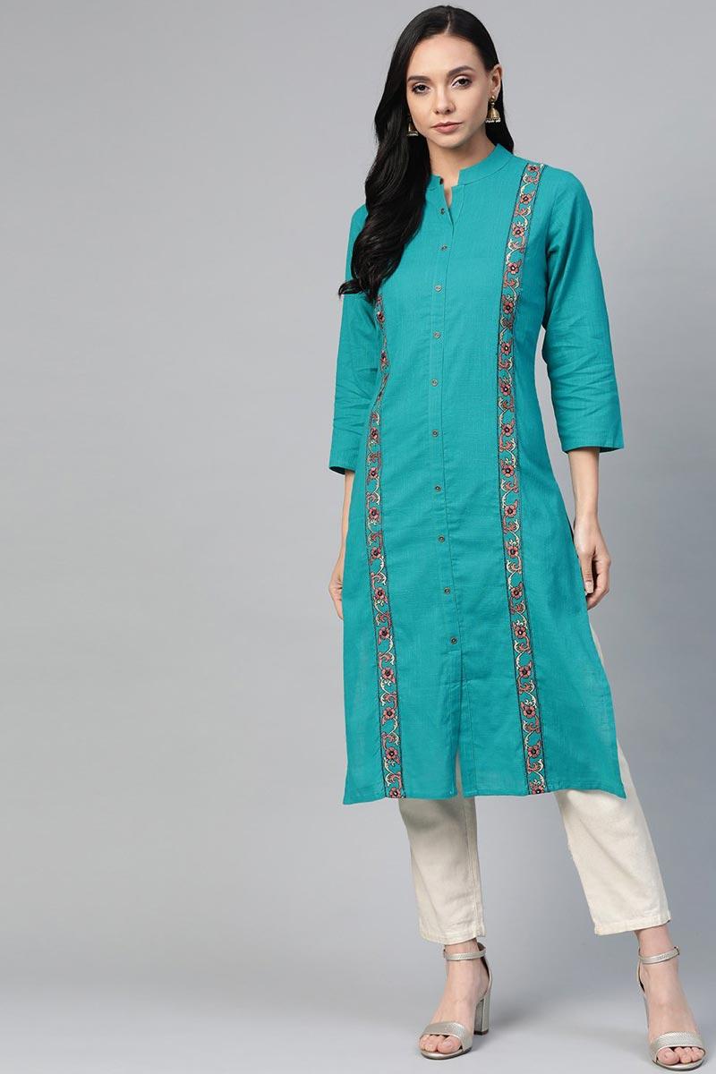 Exclusive Cyan Cotton Fabric Casual Wear Trendy Kurti