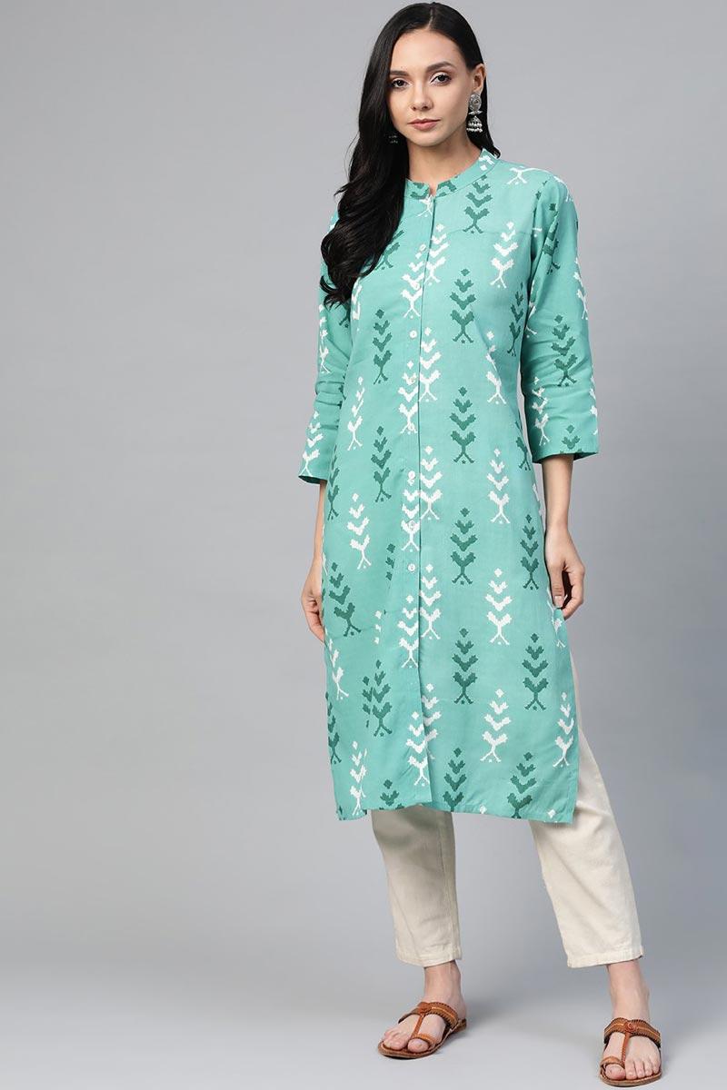 Exclusive Sea Green Rayon Fabric Daily Wear Simple Kurti