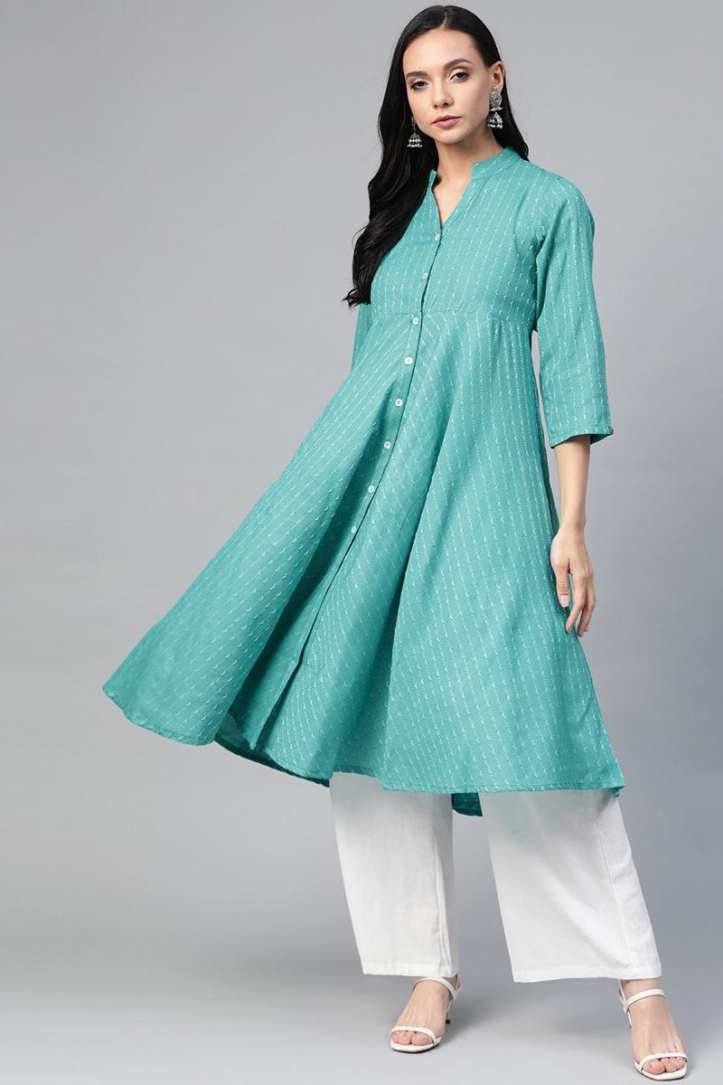 Exclusive Cyan Cotton Fabric Office Wear Stylish Kurti
