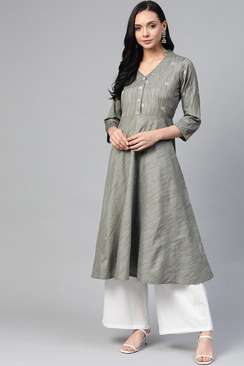 Exclusive Grey Cotton Fabric Casual Wear Simple Kurti