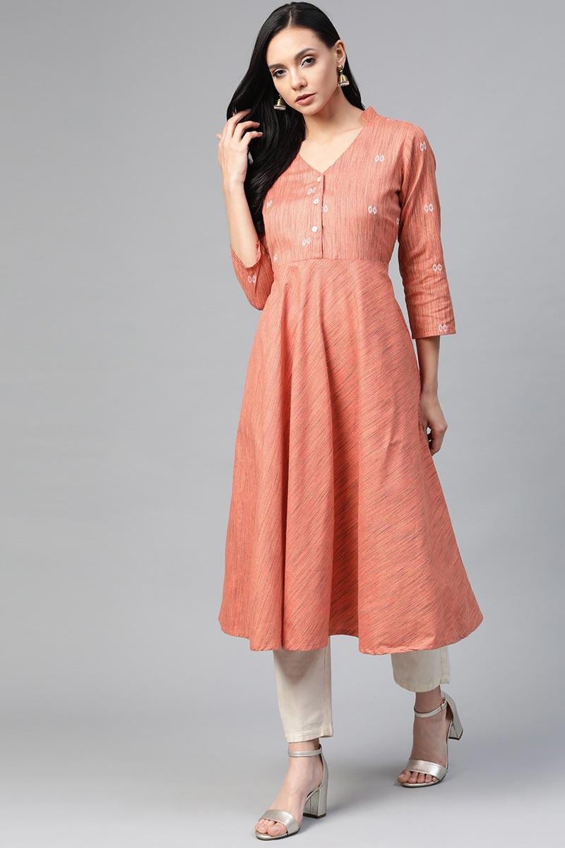 Exclusive Peach Cotton Fabric Daily Wear Stylish Kurti