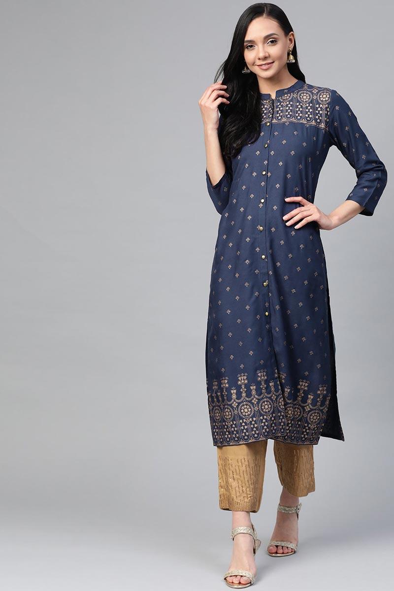 Exclusive Navy Blue Rayon Fabric Office Wear Trendy Kurti
