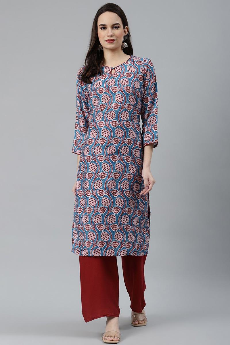 Exclusive Sky Blue Fancy Fabric Regular Wear Simple Kurti
