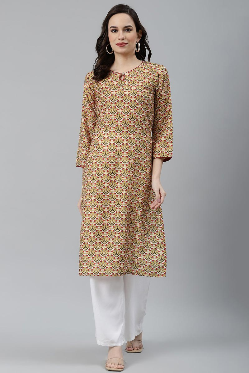 Exclusive Yellow Fancy Fabric Daily Wear Trendy Kurti
