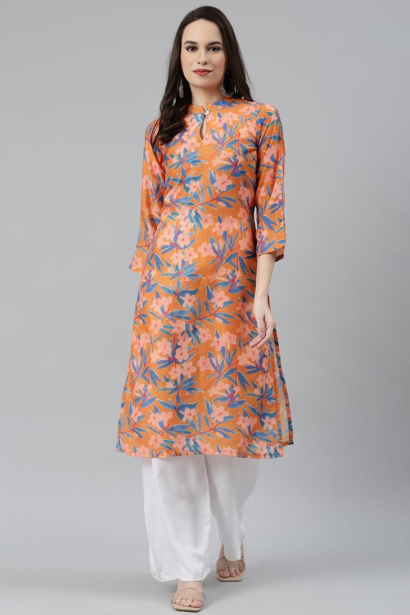 Exclusive Orange Fancy Fabric Office Wear Simple Kurti