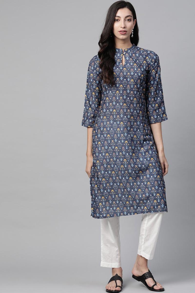 Exclusive Regular Wear Fancy Fabric Navy Blue Color Kurti