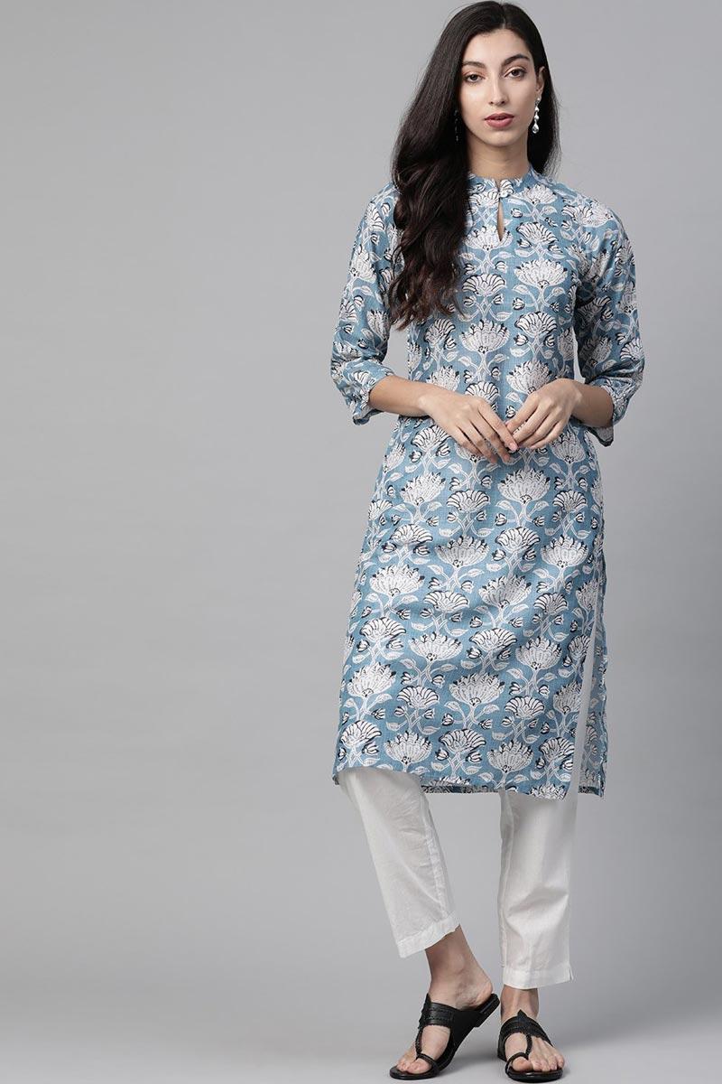 Exclusive Light Cyan Color Regular Wear Fancy Fabric Kurti