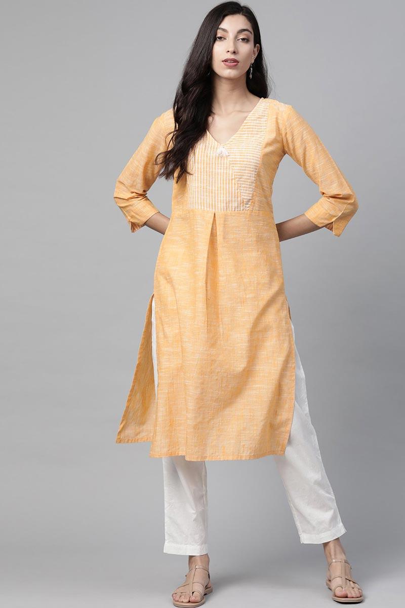 Exclusive Cotton Fabric Regular Wear Peach Color Kurti