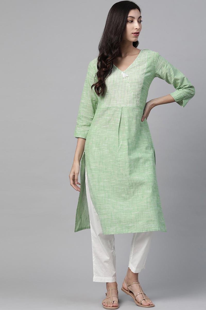 Exclusive Regular Wear Sea Green Color Cotton Fabric Kurti