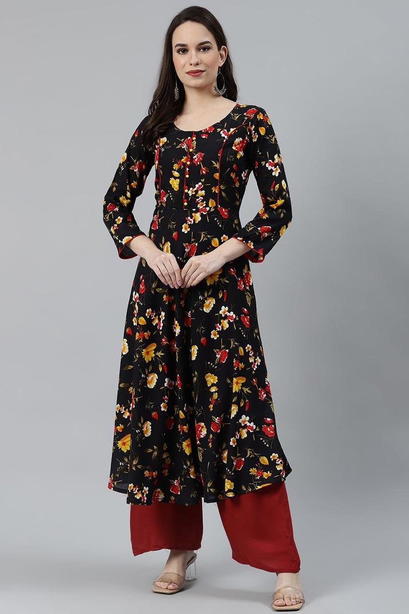 Exclusive Regular Wear Rayon Fabric Kurti In Black Color