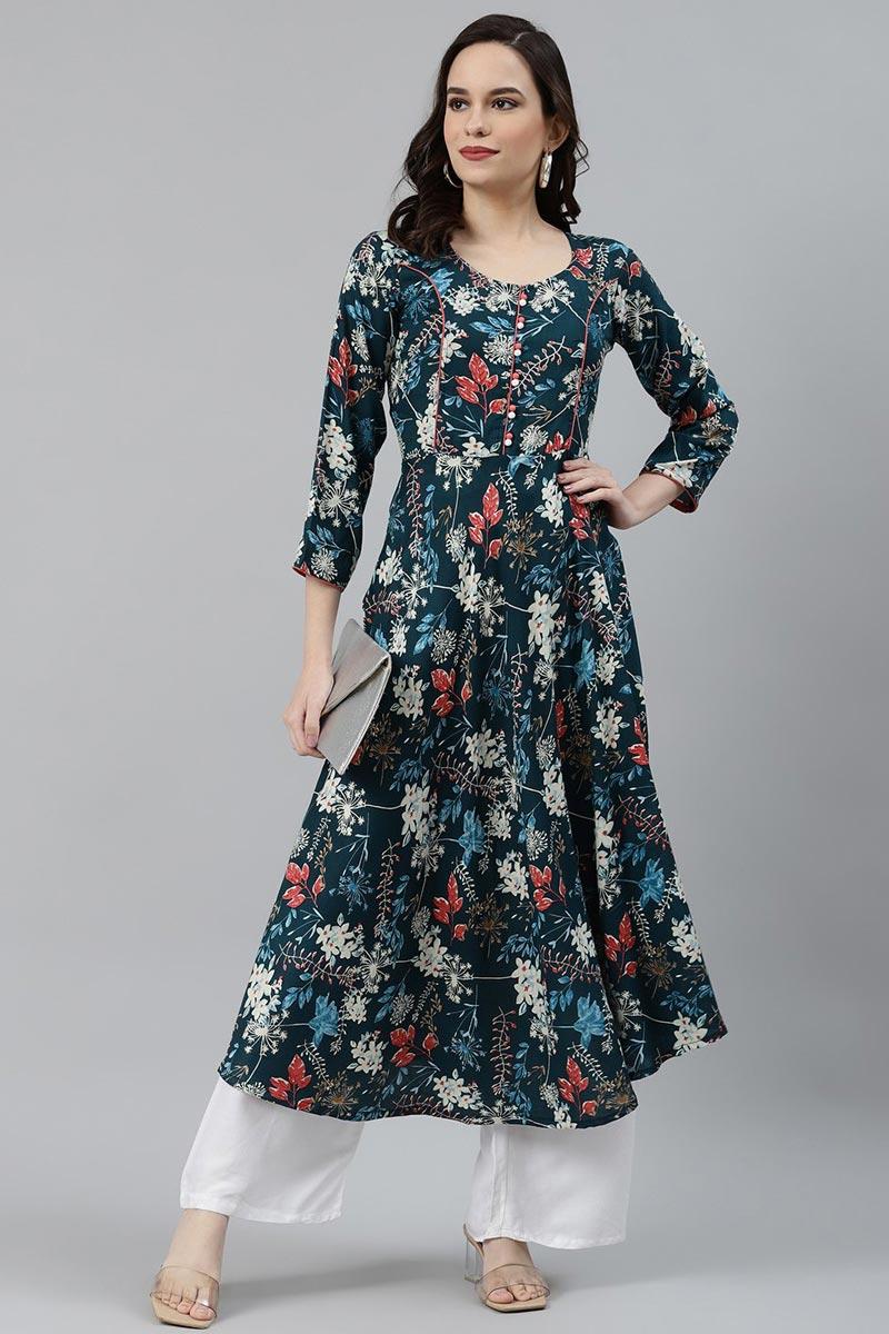 Exclusive Teal Color Regular Wear Rayon Fabric Kurti