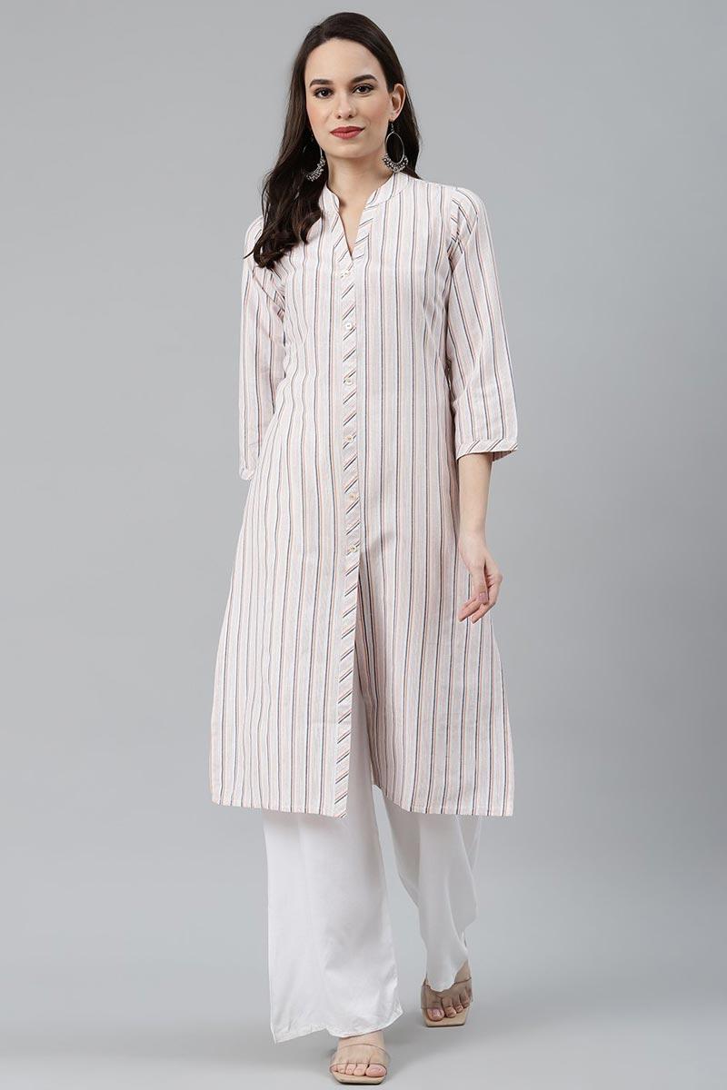 Exclusive Cotton Fabric Regular Wear Off White Color Kurti