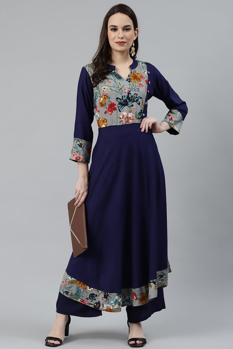Exclusive Regular Wear Navy Blue Color Kurti In Rayon Fabric