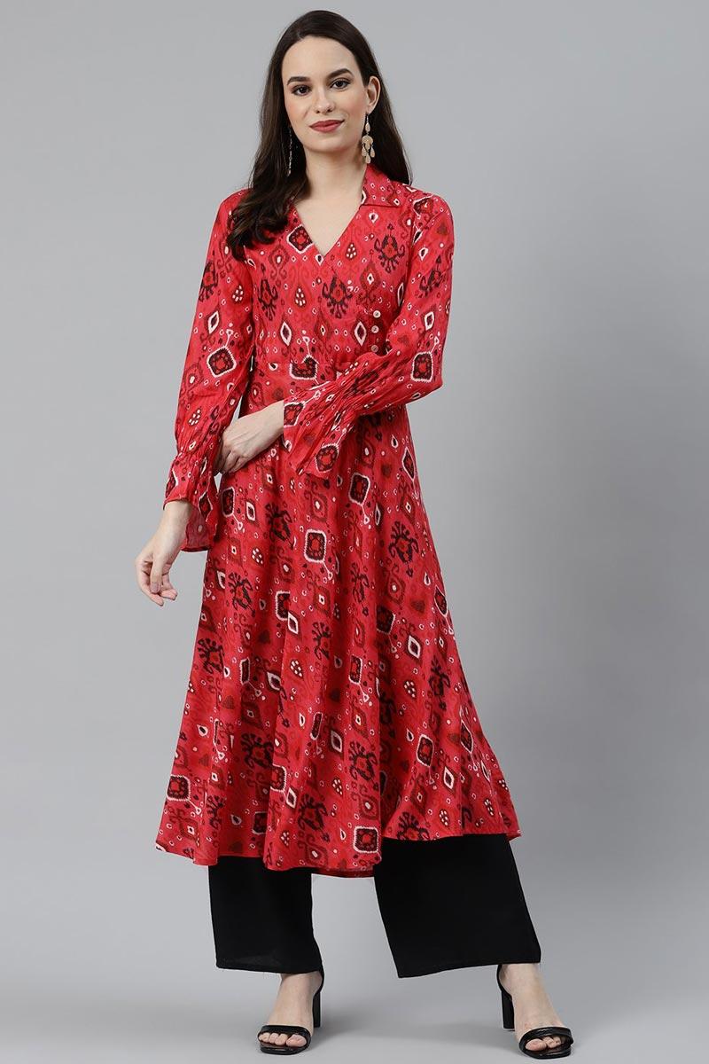 Exclusive Regular Wear Red Color Kurti In Rayon Fabric