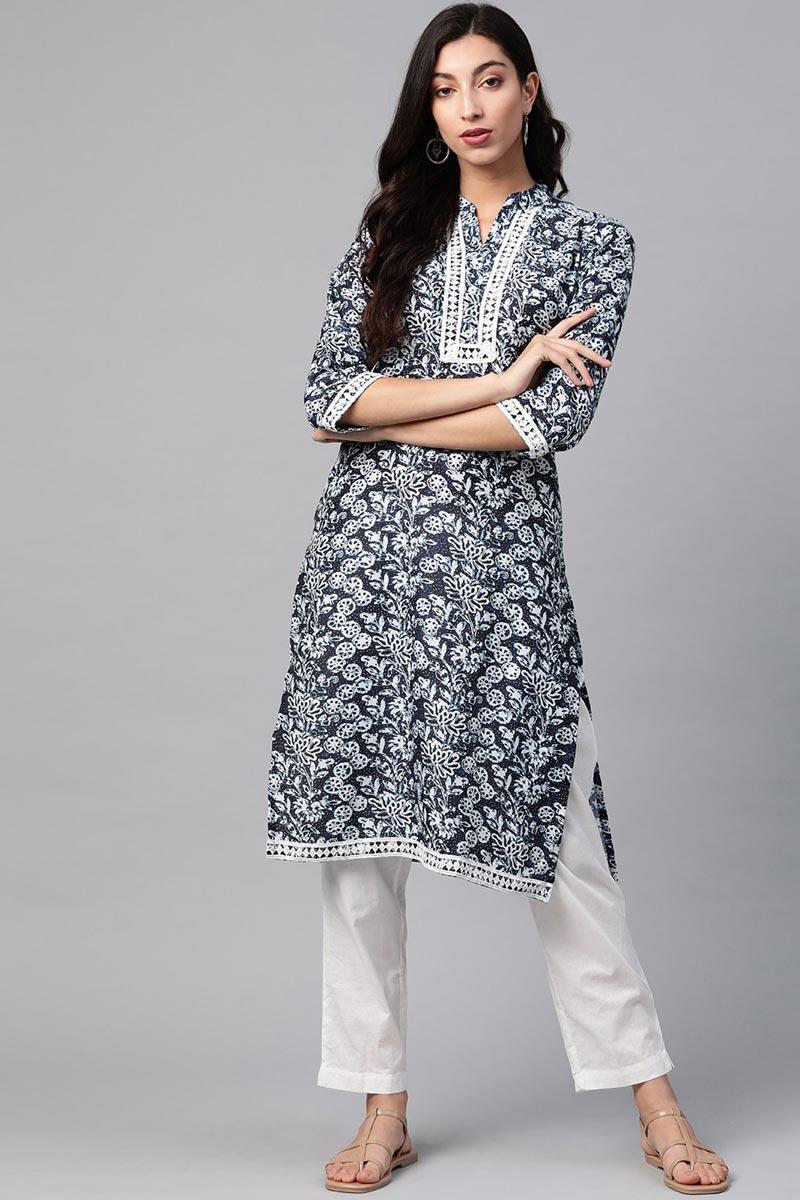 Exclusive Regular Wear Fancy Fabric Kurti In Navy Blue Color