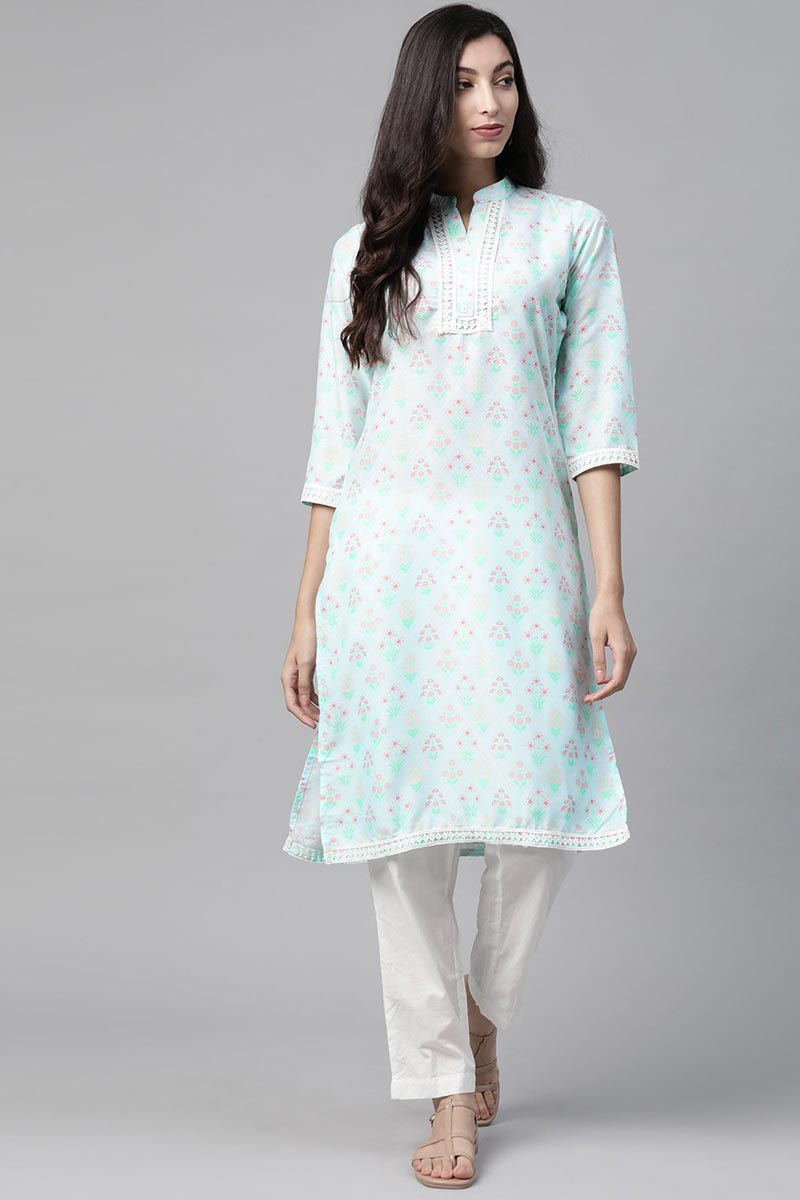 Exclusive Fancy Fabric Regular Wear Light Cyan Color Kurti