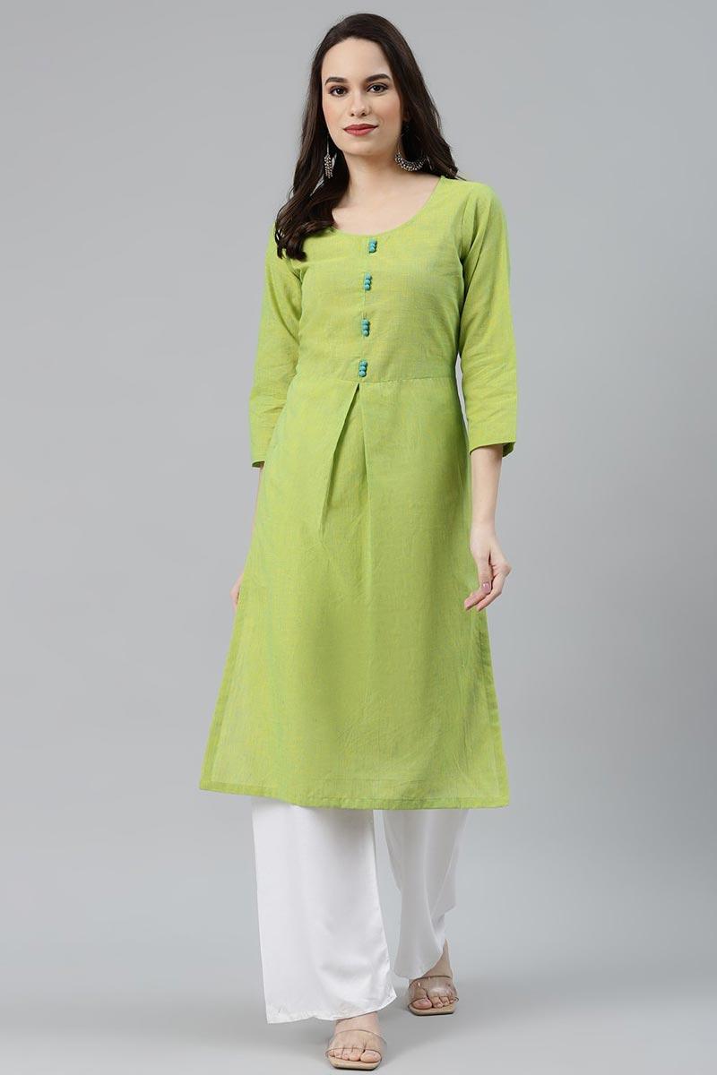 Exclusive Cotton Fabric Regular Wear Green Color Kurti