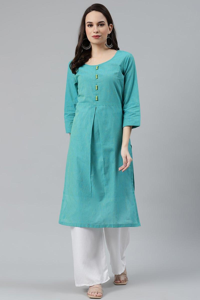 Exclusive Regular Wear Cyan Color Cotton Fabric Kurti