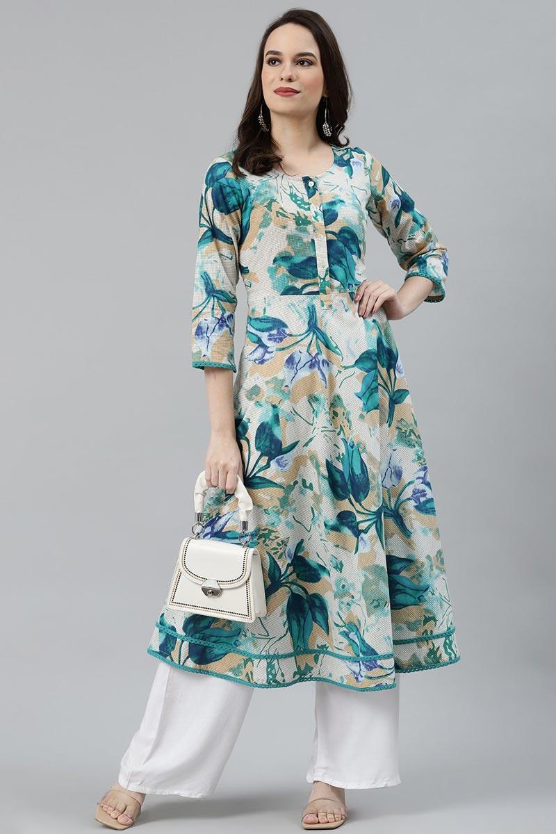 Exclusive Regular Wear Multi Color Cotton Fabric Kurti