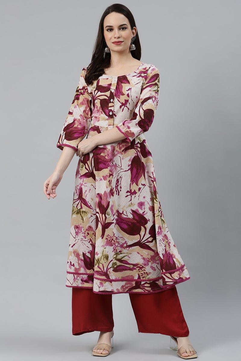 Exclusive Cotton Fabric Regular Wear Multi Color Kurti