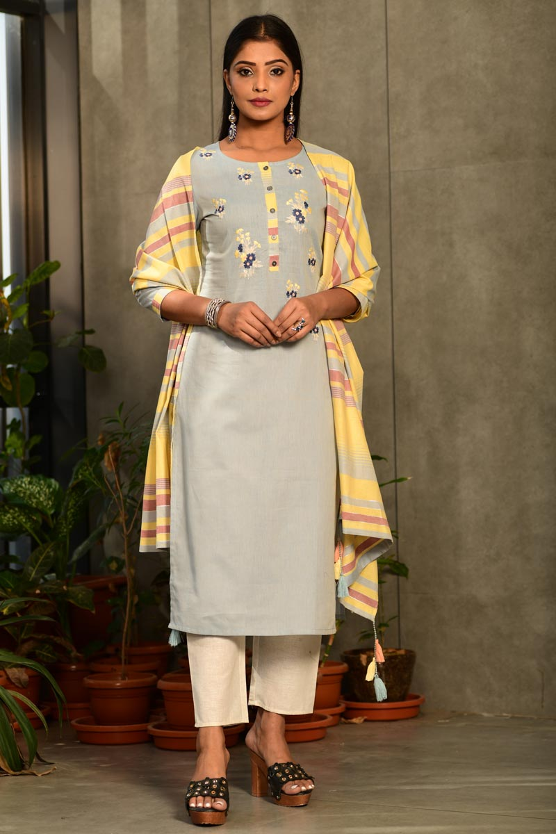 Exclusive Casual Wear Grey Color Cotton Fabric Readymade Salwar Suit