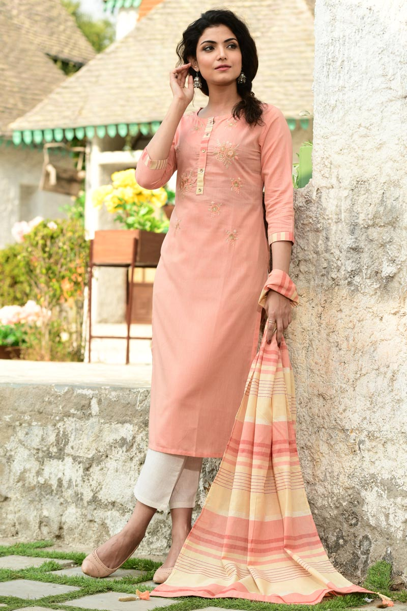 Exclusive Peach Color Casual Wear Cotton Fabric Readymade Salwar Suit